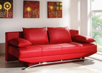Červená pohovka s úložným priestorom Oliver - rozkladacia