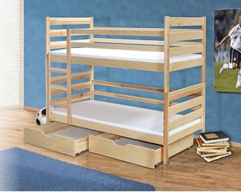 Poschodová detská posteľ Matteo z masívu borovice