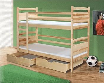 Poschodová posteľ Paolo z masívu s úložným priestorom