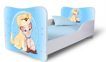 Jednolôžková detská posteľ s motívom psíka s mačičkou 1