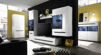 Moderná obývacia stena Marien 4 biely lesk