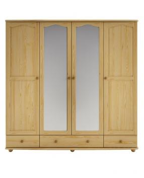 Štvordverová šatníková skriňa Alcara so zrkadlom