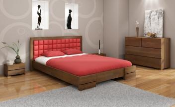 Drevená spálňa Erland 1 s čalúnenou manželskou posteľou