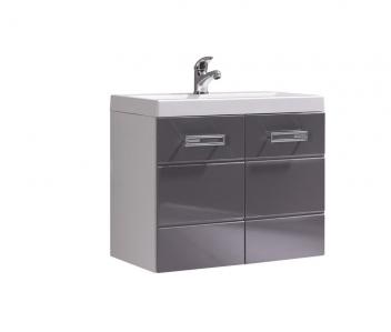 Dvojfarebná dolná skrinka pod umývadlo Demario - biela / sivý lesk