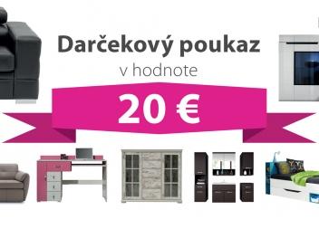 Darčekový poukaz za 20 EUR na nábytok podľa vlastného výberu - DOPRAVA ZADARMO!