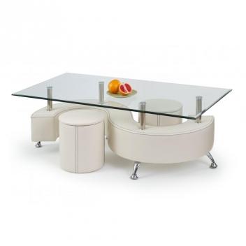 Sklenený konferenčný stolík s taburetmi Ronen 3