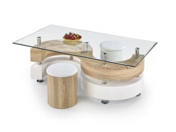Sklenený konferenčný stolík s taburetmi Ronen 4
