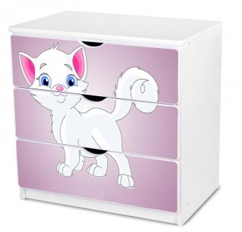 Detská komoda s bielou mačičkou