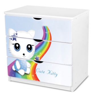 Komoda so zásuvkami pre dievčatá Cutte Kitty modrá
