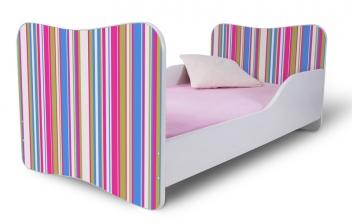 Detská posteľ so zábranou pre dievčatá s ružovými pruhmi