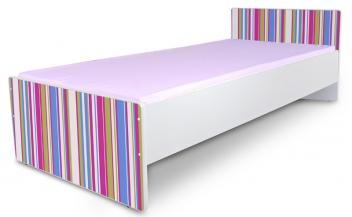 Jednolôžková posteľ pre dievčatá s ružovými pruhmi